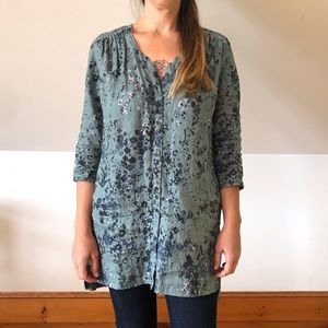 Poetry Blue Green Floral Linen Tunic Top